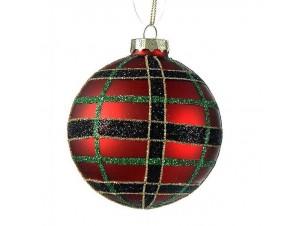 Κόκκινη Γυάλινη Χριστουγεννιάτικη Μπάλα καρό 8 εκ.