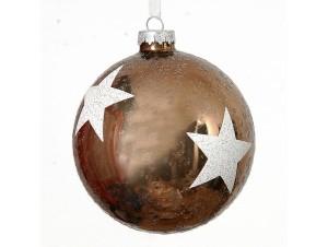 Χριστουγεννιάτικη καφέ μπάλα διακόσμησης 10 εκ.
