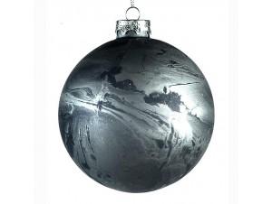 Χριστουγεννιάτικη σκούρο γκρι μπάλα διακόσμησης 10 εκ.