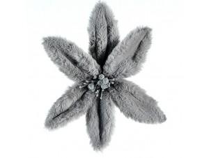 Χριστουγεννιάτικο γούνινο λουλούδι διακόσμησης 11 εκ.