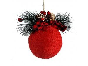 Κόκκινη Χριστουγεννιάτικη μπάλα από σχοινί 10 εκ.