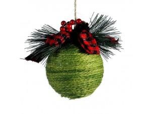 Πράσινη Χριστουγεννιάτικη μπάλα από σχοινί 10 εκ.