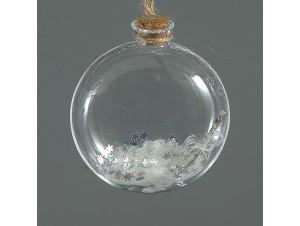 Διάφανη Χριστουγεννιάτικη μπάλα μπουκάλα με γέμισμα 9 εκ.