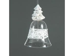 Χριστουγεννιάτικη διάφανη μπάλα καμπάνα με διακόσμηση 11 εκ.