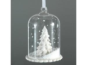 Χριστουγεννιάτικη διάφανη κρεμαστή χιονόμπαλα 11 εκ.