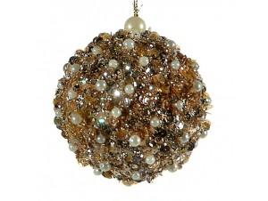 Γυάλινη Χριστουγεννιάτικη μπάλα με πέρλες