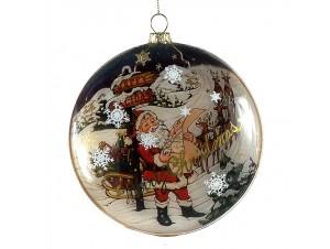 Χριστουγεννιάτικη γυάλινη μπάλα πλακέ με σχέδιο 12 εκ.