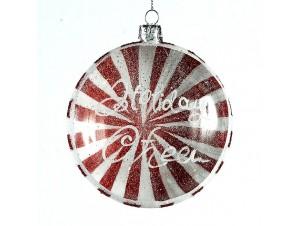 Κόκκινη πλακέ Χριστουγεννιάτικη μπάλα 10 εκ.