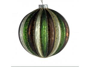 Γυάλινη πολύχρωμη ανάγλυφη Χριστουγεννιάτικη μπάλα 10 εκ.