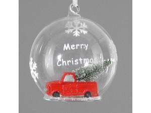 Διάφανη Χριστουγεννιάτικη με γέμισμα μπάλα διακόσμησης 9 εκ.