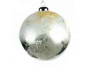 Γυάλινη Χριστουγεννιάτικη άσπρη μπάλα 12 εκ.