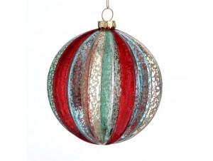 Χριστουγεννιάτικη πολύχρωμη μπάλα διακόσμησης 10 εκ.