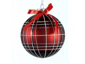 Χριστουγεννιάτικη καρό μπάλα διακόσμησης 10 εκ.
