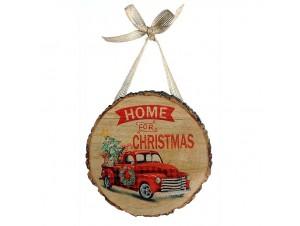 Χριστουγεννιάτικος κορμός στολίδι με κορδέλα 15 εκ.