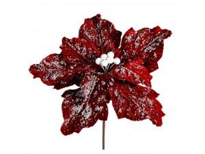 Χιονισμένο Χριστουγεννιάτικο διακοσμητικό λουλούδι αλεξανδρινό 98 εκ.