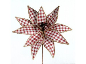 Χριστουγεννιάτικο καρό διακοσμητικό λουλούδι 85 εκ.