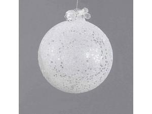 Άσπρη γυάλινη μπάλα Χριστουγέννων 8 εκ.