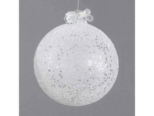 Άσπρη γυάλινη μπάλα Χριστουγέννων 10 εκ.