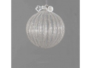 Διάφανη γυάλινη μπάλα Χριστουγέννων με γκλίτερ 8 εκ.