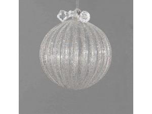 Διάφανη γυάλινη μπάλα Χριστουγέννων με γκλίτερ 10 εκ.
