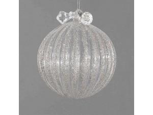 Διάφανη γυάλινη μπάλα Χριστουγέννων με γκλίτερ 12 εκ.