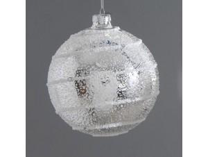 Χριστουγεννιάτικη ασημί ανάγλυφη μπάλα διακόσμησης 8 εκ.