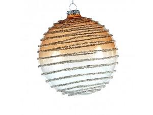 Χρυσή Χριστουγεννιάτικη γυάλινη μπάλα 10 εκ.