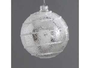 Χριστουγεννιάτικη ασημί ανάγλυφη μπάλα διακόσμησης 12 εκ.