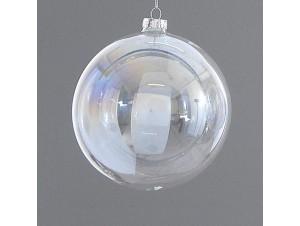 Χριστουγεννιάτικη διάφανη μπάλα διακόσμησης 8 εκ.