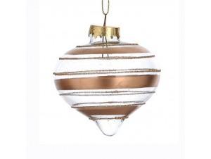 Χριστουγεννιάτικη με ρίγες μπάλα διακόσμησης 8 εκ.