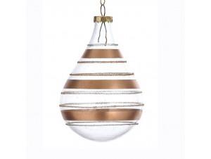 Χριστουγεννιάτικη με ρίγες μπάλα διάκοσμησης 8 εκ.