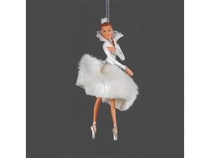 Χριστουγεννιάτικο άσπρο στολίδι μπαλαρίνα 17 εκ.