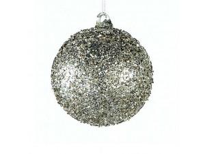 Γυάλινη μπάλα Χριστουγεννιάτικης διακόσμησης με ανάγλυφη επιφάνεια 10 εκ.