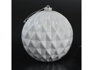 Άσπρη Ανάγλυφη Χριστουγεννιάτικη Μπάλα 15 εκ.