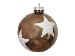 Χριστουγεννιάτικη καφέ μπάλα διακόσμησης 8 εκ.