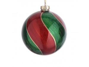 Δίχρωμη γυαλιστερή Χριστουγεννιάτικη μπάλα διακόσμησης 10 εκ.