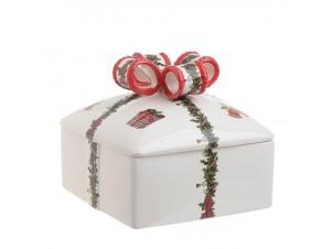 Χριστουγεννιάτικη μπισκοτιέρα σε σχήμα δώρου 20 x 19 x 18 εκ.