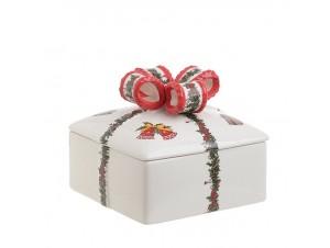 Χριστουγεννιάτικη μπισκοτιέρα σε σχήμα δώρου 15 x 15 x 13 εκ.