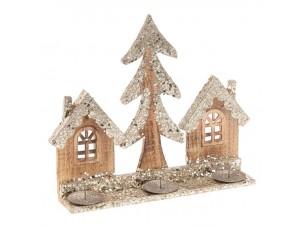 Χριστουγεννιάτικο ξύλινο κηροπήγιο 30 x 7 x 28 εκ.