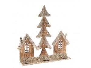 Χριστουγεννιάτικο ξύλινο κηροπήγιο 38 x 9 x 41 εκ.