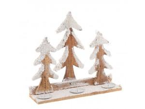 Χιονισμένο Χριστουγεννιάτικο ξύλινο κηροπήγιο 30 x 10 x 28 εκ.