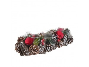 Χριστουγεννιάτικο διακοσμητικό κηροπήγιο με κουκουνάρια