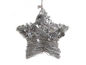 Κρεμαστό ασημί στολίδι Χριστουγέννων αστέρι 30 εκ.