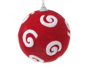 Κόκκινη με υφή διακοσμητική μπάλα Χριστουγέννων 8 εκ.