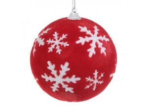 Κόκκινη με υφή διακοσμητική μπάλα Χριστουγέννων 10 εκ.