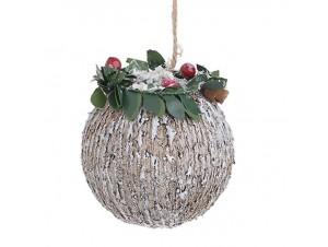 Χριστουγεννιάτικη χιονισμένη μπάλα διακόσμησης 10 εκ.