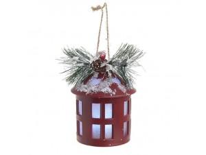 Χριστουγεννιάτικο διακοσμητικό φανάρι με φως 11,5 x 7,5 εκ.
