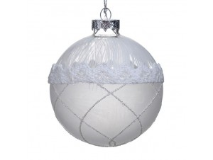 Χριστουγεννιάτικη με δαντέλα μπάλα διακόσμησης 8 εκ