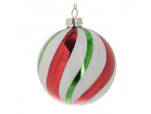 Πολύχρωμη Χριστουγεννιάτικη μπάλα διακόσμησης 8 εκ.