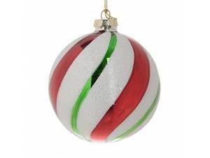 Πολύχρωμη Χριστουγεννιάτικη μπάλα διακόσμησης 10 εκ.